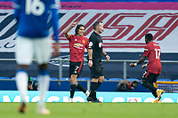 7th November 2020; Liverpool, England; Manchester Uniteds Edinson Cavani celebrates with teammate after scoring during the Premier League match between Everton and Manchester United at Goodison Park Stadium
