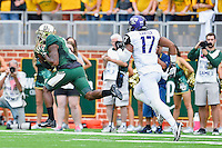 Baylor wide receiver Antwan Goodley (5) catches a pass on it's to the end zone for a touchdown during an NCAA football game, Saturday, October 11, 2014 in Waco, Tex. Baylor defeated TCU 61-58 to remain undefeated in BIG 12 conference. (Mo Khursheed/TFV Media via AP Images)