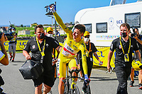 17th July 2021, St Emilian, Bordeaux, France;  POGACAR Tadej (SLO) of UAE TEAM EMIRATES celebrates with the crowd after stage 20 of the 108th edition of the 2021 Tour de France cycling race, an individual time trial stage of 30,8 kms between Libourne and Saint-Emilion.