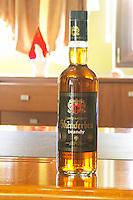 A bottle of Skenderbeu Skenderbeg brandy Gjeroj Kastrioti. Kantina e Pijeve Gjergj Kastrioti Skenderbeu Skanderbeg winery, Durres. Albania, Balkan, Europe.