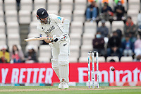 Kane Williamson, New Zealand defends into the on side during India vs New Zealand, ICC World Test Championship Final Cricket at The Hampshire Bowl on 22nd June 2021