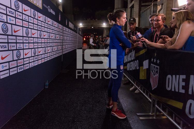 PASADENA, CA - AUGUST 4: Carli Lloyd #10, media during a game between Ireland and USWNT at Rose Bowl on August 3, 2019 in Pasadena, California.