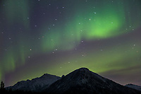 Aurora borealis over the Brooks Range, Arctic, Alaska.