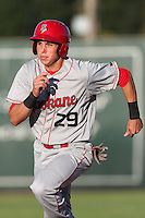 Spokane Indians infielder Drew Robinson #29 runs the bases against the Salem-Keizer Volcanoes at Volcanoes Stadium on August 10, 2011 in Salem-Keizer,Oregon. Salem-Keizer defeated Spokane 7-6.(Larry Goren/Four Seam Images)