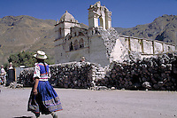 South America ; travel ; traditional dress ; village ; earthquake damage ; church. Achoma, Peru.