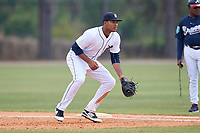 Detroit Tigers Gabriel Quintana (13) during a Minor League Spring Training game against the Atlanta Braves on March 19, 2018 at the TigerTown Complex in Lakeland, Florida.  (Mike Janes/Four Seam Images)