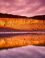 H00118M.tif   Fly fisherman on Lake Lenore with sunrise, Washington