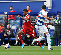 Middlesbrough's Chuba Akpom challenges Queens Park Rangers' Yoann Barbet<br /> <br /> Photographer Stephanie Meek/CameraSport<br /> <br /> The EFL Sky Bet Championship - Queens Park Rangers v Middlesbrough - Saturday 26th September 2020 - Loftus Road - London <br /> <br /> World Copyright © 2020 CameraSport. All rights reserved. 43 Linden Ave. Countesthorpe. Leicester. England. LE8 5PG - Tel: +44 (0) 116 277 4147 - admin@camerasport.com - www.camerasport.com