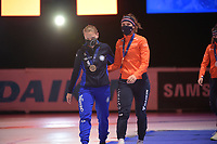 SPEEDSKATING: DORDRECHT: 06-03-2021, ISU World Short Track Speedskating Championships, Podium 500m Ladies, Arianna Fontana (ITA), Suzanne Schulting (NED), ©photo Martin de Jong