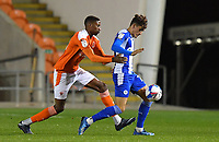 Blackpool's Marvin Ekpiteta battles with Wigan Athletic's Kyle Joseph<br /> <br /> Photographer Dave Howarth/CameraSport<br /> <br /> The EFL Sky Bet League One - Blackpool v Wigan Athletic - Tuesday 3rd November 2020 - Bloomfield Road - Blackpool<br /> <br /> World Copyright © 2020 CameraSport. All rights reserved. 43 Linden Ave. Countesthorpe. Leicester. England. LE8 5PG - Tel: +44 (0) 116 277 4147 - admin@camerasport.com - www.camerasport.com