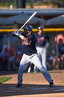 Tampa Yankees third baseman Miguel Andujar (27) at bat during a game against the Lakeland Flying Tigers on April 7, 2016 at Henley Field in Lakeland, Florida.  Tampa defeated Lakeland 9-2.  (Mike Janes/Four Seam Images)