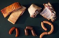 """Europe/France/Alsace/67/Bas-Rhin/Blaesheim: Les ingrédients de la choucroute alsacienne de Philippe Schadt chef du restaurant """"Chez Philippe"""""""