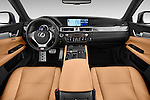 Stock photo of straight dashboard view of a 2014 Lexus GS 300H Hybrid F Sport Line 4 Door Sedan 2WD Dashboard