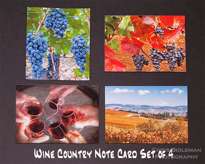 """Wine Country note cards.  Set of 4 cards that are 4.25"""" x 5.5"""" in size.  Blank inside and includes mailing envelope."""
