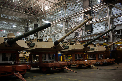Lima, Ohio.March 2012..Turrets near completion...The Joint Systems Manufacturing Center (US Army Tank Plant) which is the only heavy armored tank factory in the United States. They build and refurbish Abrams tanks, Stryker armored personnel carriers, and other weapons systems.