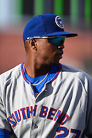 South Bend Cubs left fielder Eloy Jimenez (27) during a game against the Dayton Dragons on May 11, 2016 at Fifth Third Field in Dayton, Ohio.  South Bend defeated Dayton 2-0.  (Mike Janes/Four Seam Images)