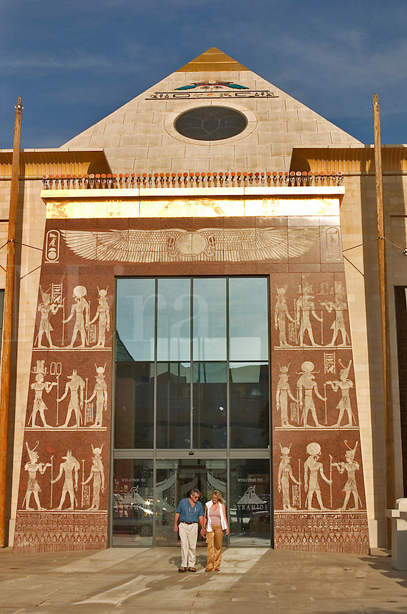 United Arab Emirates.  Entrance to the Pyramids restaurant complex at the Wafi Centre/Center..