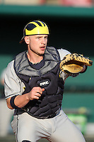 Coley Crank #3 of the Michigan Wolverines during the Big East-Big Ten Challenge vs. the Louisville Cardinals at Al Lang Field in St. Petersburg, Florida;  February 18, 2011.  Louisville defeated Michigan 6-3.  Photo By Mike Janes/Four Seam Images