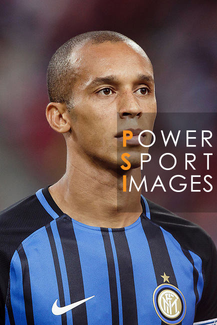 FC Internazionale Defender Joao Miranda getting into the field during the International Champions Cup match between FC Bayern and FC Internazionale at National Stadium on July 27, 2017 in Singapore. Photo by Marcio Rodrigo Machado / Power Sport Images