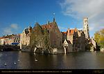 Nepomucenus Bridge, Malvenda Perez House, Wollestraat Hotels and Belfort Bell Tower, Rozenhoedkaai Red Hat Quay, Bruges, Brugge, Belgium
