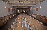 The barrel aging cellar at Chateau Caillou in Sauternes.  Chateau Caillou, Grand Cru Classe, Barsac, Sauternes, Bordeaux, Aquitaine, Gironde, France, Europe