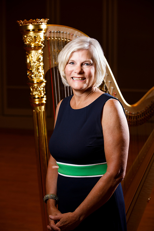 USA International Harp Competition Board of Directors member Jill Pitz poses for a portrait during the 11th USA International Harp Competition at Indiana University in Bloomington, Indiana on Saturday, July 13, 2019. (Photo by James Brosher)