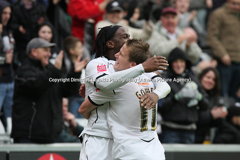 Pictured: Jason Scotland (left) and Mark Gower (right) of Swansea City celebrate <br /> Re: Coca Cola Championship, Swansea City Football Club v Watford at the Liberty Stadium, Swansea, south Wales 09 November 2008.<br /> Picture by Dimitrios Legakis Photography (Athena Picture Agency), Swansea, 07815441513