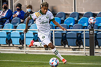 SAN JOSE, CA - MAY 15: Pablo Bonilla #28 of the Portland Timbers dribbles the ball during a game between San Jose Earthquakes and Portland Timbers at PayPal Park on May 15, 2021 in San Jose, California.