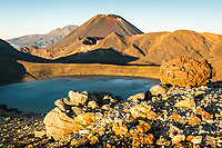 Sunrise over volcanic rocks and Mount Ngaruhoe, Tongariro National Park, Central Plateau, North Island, UNESCO World Heritage Area, New Zealand, NZ