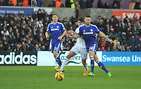 SWANSEA, WALES - JANUARY 17:   of  during the Barclays Premier League match between Swansea City and Chelsea at Liberty Stadium on January 17, 2015 in Swansea, Wales.<br /> Swansea's Nelson Oliviera blocked out by Gary Cahill