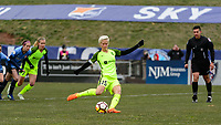 Piscataway, NJ - Sunday April 15, 2018: Megan Rapinoe takes a penalty kick during a regular season National Women's Soccer League (NWSL) match between Sky Blue FC and the Seattle Reign FC at Yurcak Field.