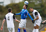 St Johnstone v Inverness Caley Thistle....07.04.12   SPL.Marcus Haber gets above Steve Willams.Picture by Graeme Hart..Copyright Perthshire Picture Agency.Tel: 01738 623350  Mobile: 07990 594431