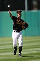 March 16 2009: Shane Boras of the USC Trojans, son of baseball player agent Scott Boras, warms up before game at Dedeaux Field in Los Angeles,CA.  Photo by Larry Goren/Four Seam Images