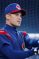 Omar Vizquel of the Cleveland Indians before a 2002 MLB season game against the Los Angeles Angels at Angel Stadium, in Los Angeles, California. (Larry Goren/Four Seam Images)
