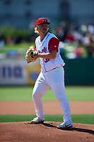 Stockton Ports starting pitcher Jake Bray (39) prepares to deliver a pitch during a California League game against the Rancho Cucamonga Quakes at Banner Island Ballpark on May 17, 2018 in Stockton, California. Stockton defeated Rancho Cucamonga 2-1. (Zachary Lucy/Four Seam Images)
