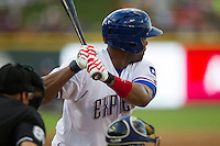 Round Rock Express outfielder Joey Butler (16) at bat during the Pacific Coast League baseball game against the New Orleans Zephyrs on June 30, 2013 at the Dell Diamond in Round Rock, Texas. Round Rock defeated New Orleans 5-1. (Andrew Woolley/Four Seam Images)