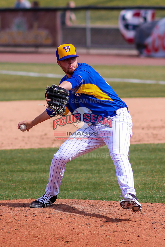 Wisconsin Timber Rattlers pitcher Braden Webb (30) delivers a pitch during a Midwest League game against the Quad Cities River Bandits on April 9, 2017 at Fox Cities Stadium in Appleton, Wisconsin.  Quad Cities defeated Wisconsin 17-11. (Brad Krause/Four Seam Images)