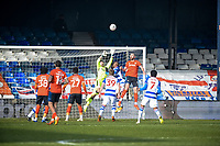 9th January 2021; Kenilworth Road, Luton, Bedfordshire, England; English FA Cup Football, Luton Town versus Reading; Luke Southwood (Reading Goalkeeper) takes the ball off the head of Danny Hylton of Luton Town.