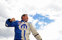 Jul, 22, 2012; Morrison, CO, USA: NHRA pro stock driver Allen Johnson celebrates after winning the Mile High Nationals at Bandimere Speedway. Mandatory Credit: Mark J. Rebilas-