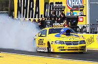 Mar. 15, 2013; Gainesville, FL, USA; NHRA pro stock driver Jeg Coughlin during qualifying for the Gatornationals at Auto-Plus Raceway at Gainesville. Mandatory Credit: Mark J. Rebilas-