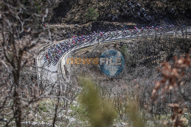 The peloton climb during Stage 6 of Paris-Nice 2021, running 202.5km from Brignoles to Biot, France. 12th March 2021.<br /> Picture: ASO/Fabien Boukla   Cyclefile<br /> <br /> All photos usage must carry mandatory copyright credit (© Cyclefile   ASO/Fabien Boukla)