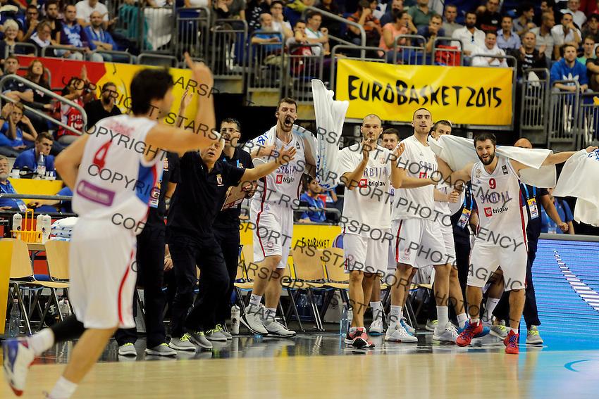 Serbia's Milos Teodosic celebrate during European championship group B basketball match between Serbia and Italy on 10. September 2015 in Berlin, Germany  (credit image & photo: Pedja Milosavljevic / STARSPORT)