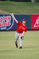 AZL Angels left fielder Jacob Pearson (2) warms up in the outfield between innings during the game against the AZL White Sox on August 14, 2017 at Diablo Stadium in Tempe, Arizona. AZL Angels defeated the AZL White Sox 3-2. (Zachary Lucy/Four Seam Images)