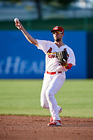 Springfield Cardinals second baseman Dickie Joe Thon (35) throws to first base during a game against the Corpus Christi Hooks on May 30, 2017 at Hammons Field in Springfield, Missouri.  Springfield defeated Corpus Christi 4-3.  (Mike Janes/Four Seam Images)