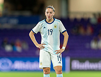 ORLANDO, FL - FEBRUARY 21: Mariana Larroquette #19 of Argentina watches a play during a game between Canada and Argentina at Exploria Stadium on February 21, 2021 in Orlando, Florida.