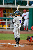 Jose Gomez (3) of the Grand Junction Rockies at bat against the Orem Owlz in Pioneer League action at Home of the Owlz on July 6, 2016 in Orem, Utah. The Rockies defeated the Owlz 5-4 in Game 2 of the double header.  (Stephen Smith/Four Seam Images)