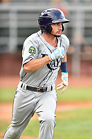 Princeton Rays third baseman Connor Hollis (39) runs to first base during game two of the Appalachian League Championship Series against the Elizabethton Twins at Joe O'Brien Field on September 5, 2018 in Elizabethton, Tennessee. The Twins defeated the Rays 2-1 to win the Appalachian League Championship. (Tony Farlow/Four Seam Images)