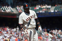 19 April 2009: San Francisco Giants' Pablo Sandoval looks dejected as he throws his bat after being called on strikes during the San Francisco Giants' 2-0 win  against the Arizona Diamondbacks at AT&T Park in San Francisco, CA.