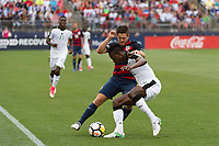 East Hartford, CT - Saturday July 01, 2017: Kelyn Rowe, John Boye during an international friendly match between the men's national teams of the United States (USA) and Ghana (GHA) at Pratt & Whitney Stadium at Rentschler Field.