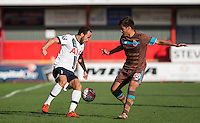 Andros Townsend of Spurs turns Federico Varela of Porto B during the Premier League U21 International Cup match between Tottenham Hotspur U21 and FC Porto B at the Lamex Stadium, Stevenage, England on 23 December 2015. Photo by Andy Rowland / PRiME Media Images